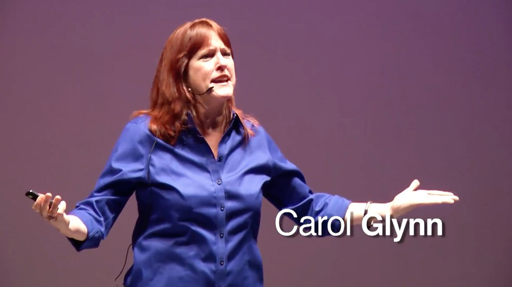 "This is photo of Carol Glynn giving her talk ""WHY MAKE THEM SIT STILL, WHEN THEY CAN LEARN ON THEIR FEET?"" at TEDxCCSU."